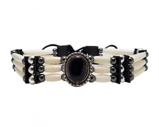 3 Row Buffalo Bone Hairpipe Beads Traditional Tribal Choker Necklace