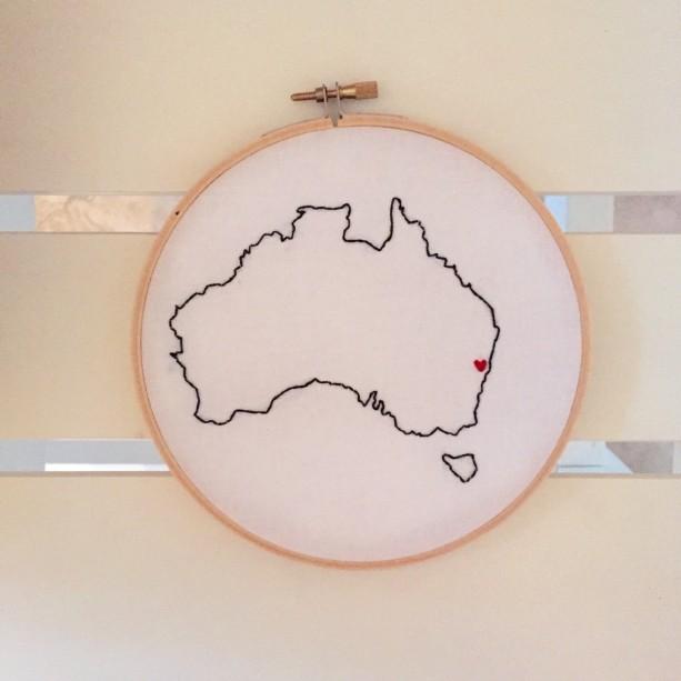 Custom Australia Embroidery Hoop Art