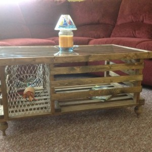 """Handmade """"Special Walnut"""" Wooden Lobster Trap Coffee Table Made in Maine AND SC."""