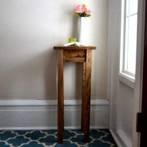 The Tee - Dark Walnut Stained Pine Side Table / Nightstand / Pot Stand