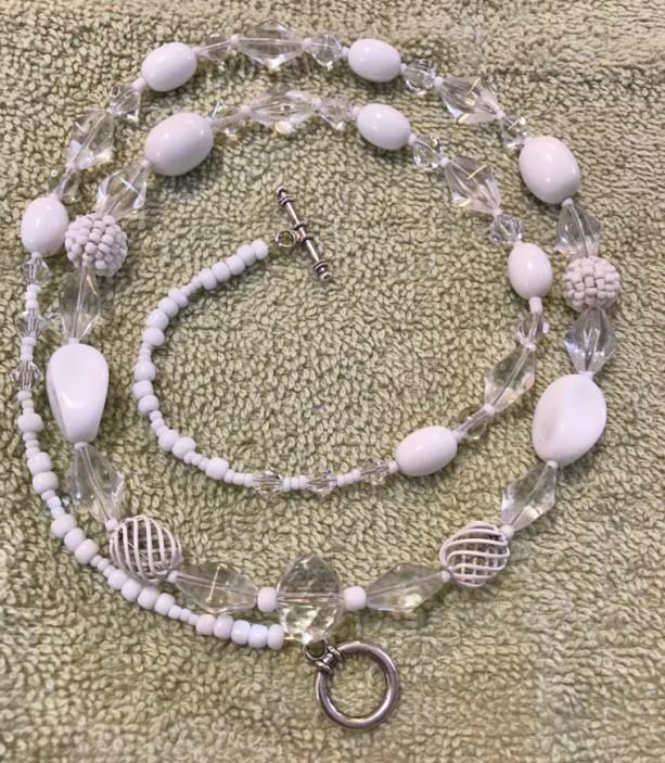 "Crystalline White handmade beaded necklace 32"" long"