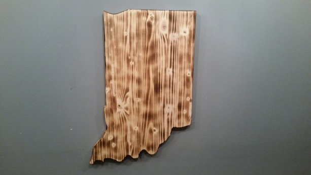 Rustic Indiana State Sign/Plaque, add an engraved heart to your location