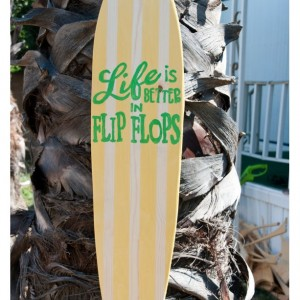 Flip Flop - Hanging Surfboard Sign - Beach Decor