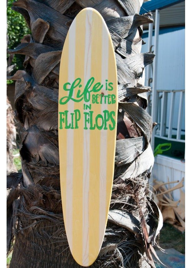 Flip Flop - Hanging Surfboard Sign - Beach Decor