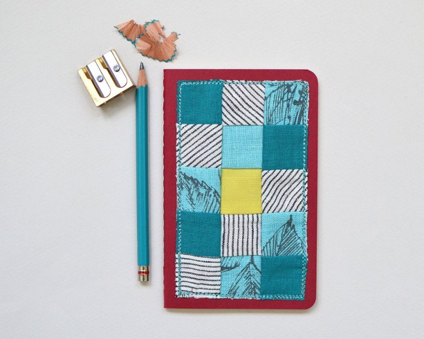 Small decorated notebook -- hand sewn patchwork Moleskine