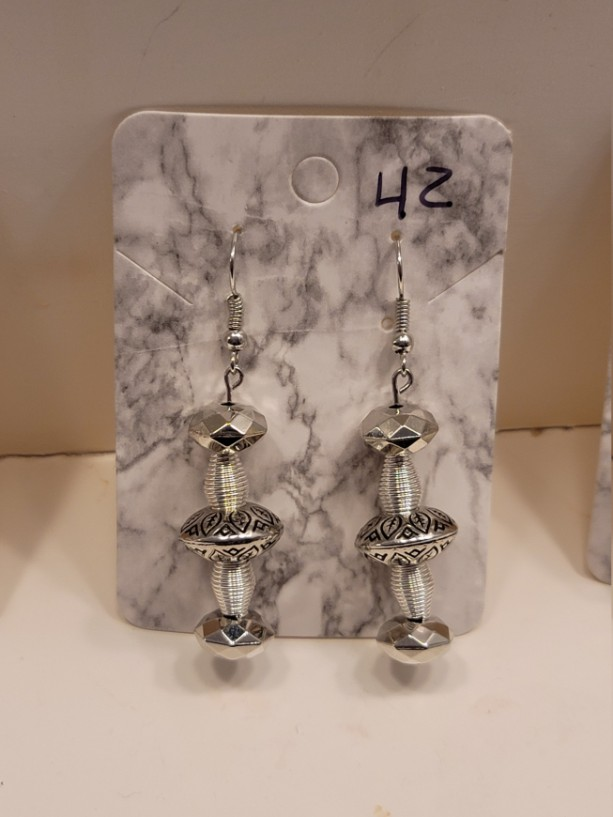 Clear and silver bead earrings