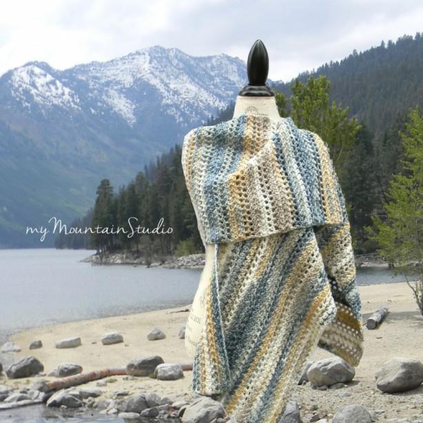 Sand and Sea Wrap - Beautiful Handmade Ladies Shawl