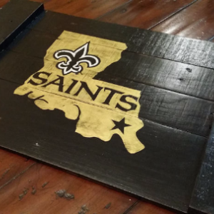 Handmade New Orleans Saints Louisiana Reclaimed Wooden Serving Tray / Sign