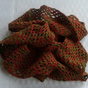 Lacey Infinity Scarf in Bright Red and Myrtle Green