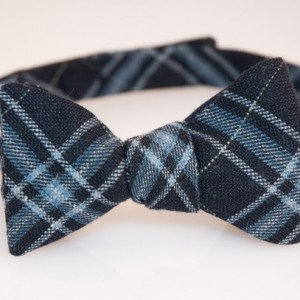 Bow Tie - Navy/White/Light Blue Plaid - Wool