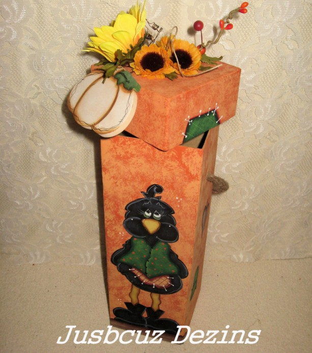 Fall Theme Wine Box, Tole Painted Boxs, Crows, Stash Boxs