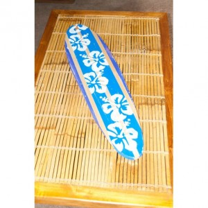 Hibiscus Surfboard - Beach Decor - Hanging Surf Board Sign - Distressed