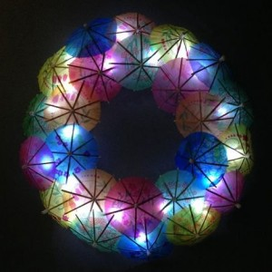 Light Up Paper Umbrella Wreath