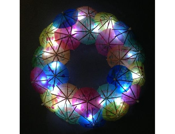 Light Up Paper Umbrella Wreath