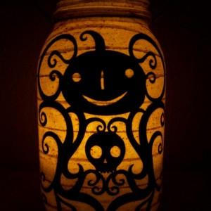 Primitive Folk Art Halloween Pumpkin Lantern Candle Holder