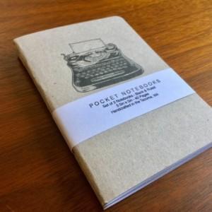 Typewriter Notebooks 2 pack 3.5in x 5in Pocket Notebook handcrafted journal diary sketchbook gift set handmade kraft Premium no logos