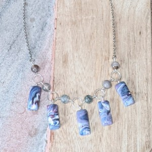 Beautiful Delicate Necklace made of Polymer clay & Stones | Aesthetic necklace | Statement necklace | Pastel Necklace | Fimo jewelry