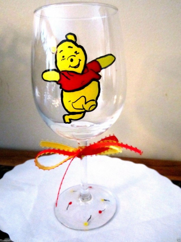 Hand Painted Wine Glass Winnie the Pooh 12 oz. Glass