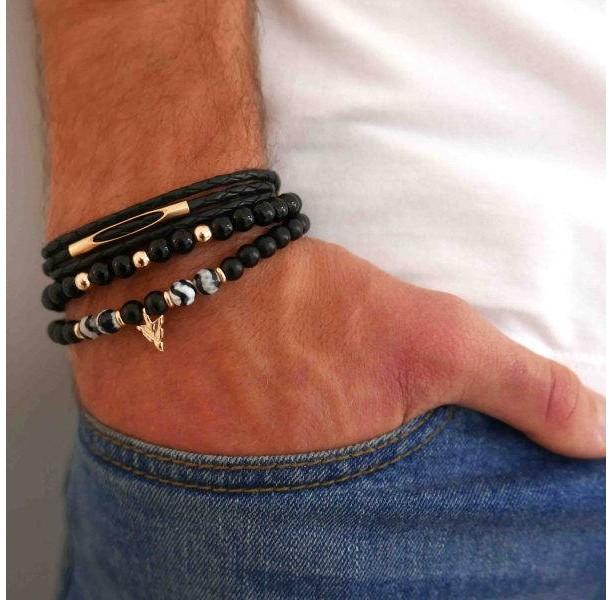 Men's Bracelet Set - Men's Beaded Bracelet - Men's Leather Bracelet - Men's Jewelry - Men's Gift - Boyfriend Gift - Husband Gift - Male
