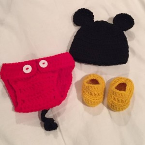 Crocheted Newborn Mickey Mouse Outfit