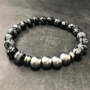 The Wyatt | handmade beaded stretch bracelet, silver hematite, snowflake obsidian beads, stainless steel, men's / unisex, Gifts for Him