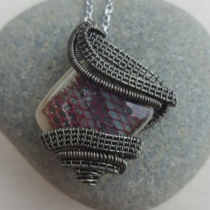 Wire Wrapped Hematite Grey Dichroic Glass Necklace