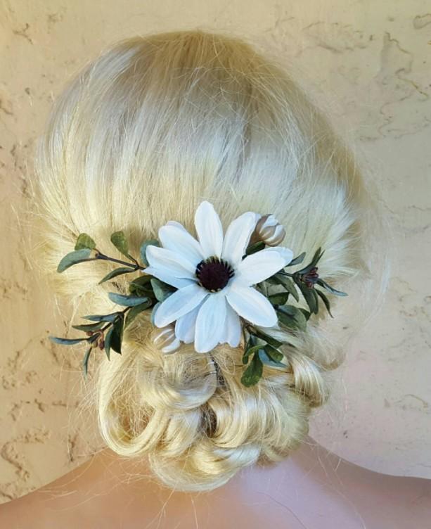 Boho Bridal Fascinator, Rustic Clip, Wedding Hair Comb, Wedding Clip, Wedding Hair Clip, Bridal Hair Comb, floral hair clip,  daisies