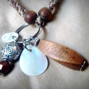 Natural hemp macrame necklace with beaded boho pendant