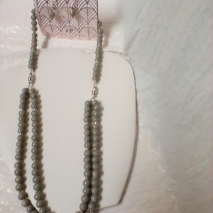 Ladies double strand necklace & earrings set