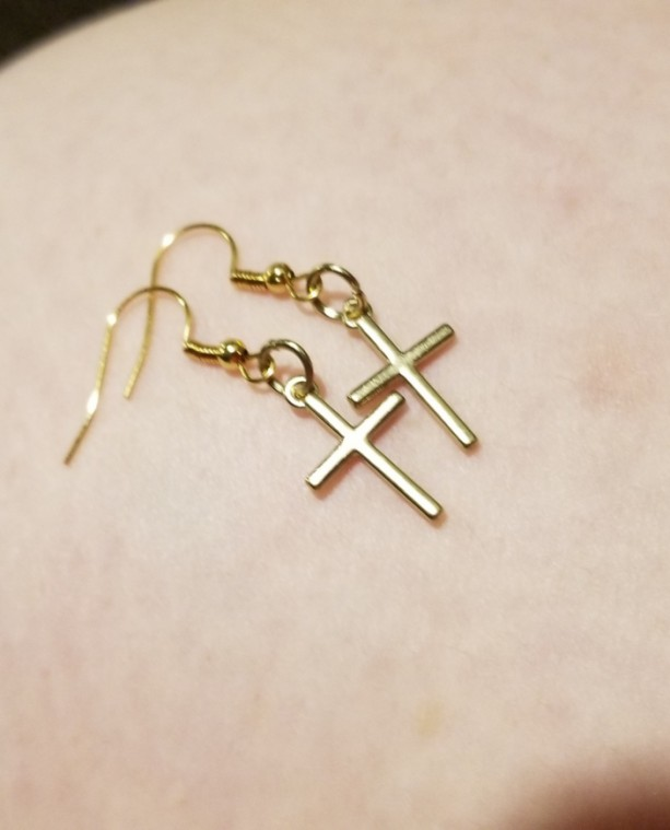 Gold cross hook earrings