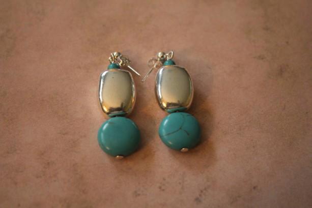 Turquoise Bead Silver Nugget Dangle Earrings