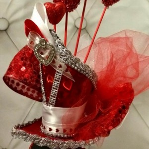 Valentines Day/Love Mini Top Hat, Bachelorette, Steampunk, Fascinator, Headband