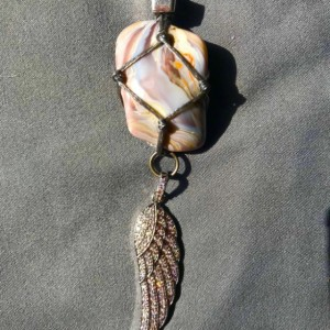 BotsWANA AGATE Healing Necklace With Rhinestone Angel's Wing Charm