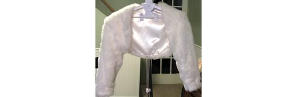 White Mink Pelt Faux Fur Bridal Bolero Jacket