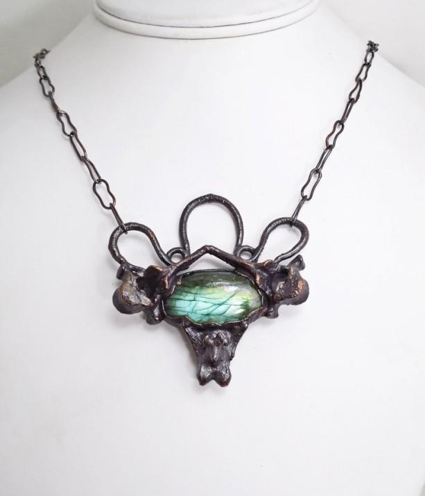 Art Nouveau Electroformed Vertebrae Bone Labradorite Necklace