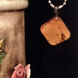 """Petals"" Real Dried Rose Petal Square Pendant with Swarovski Crystal Option"