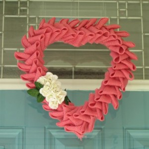 Valentines Day Burlap Wreath