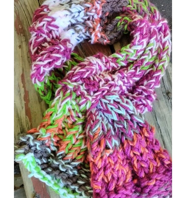 Knit scarf, Keyhole scarf, Multicolored