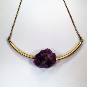 Raw Amethyst Brass Choker Natural Gemstone Jewerly Amethyst Jewelry Gemstone Choker Amethyst Necklace Adjustable Choker