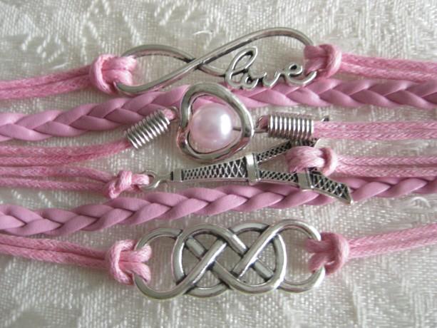 INFINITY Bracelet LOVE infinity, Pearl in Heart, Double Infinity, Eiffel Tower