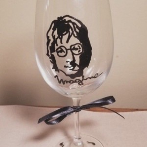 Painted Glass John Lennon Stemware 12-oz Wine-Glass