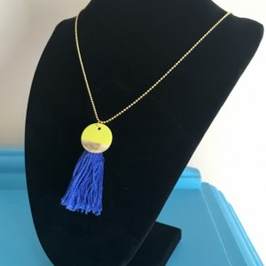 Gold Green and Blue Tassel Charm Necklace - Charm Jewelry - Tassel Necklace