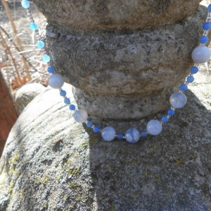 Necklace-Blue Agate, Blue Chalcedony