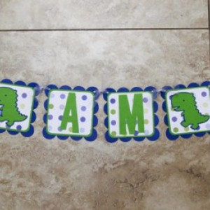 Dinosaur Themed Birthday or Shower Banner- I Am 4
