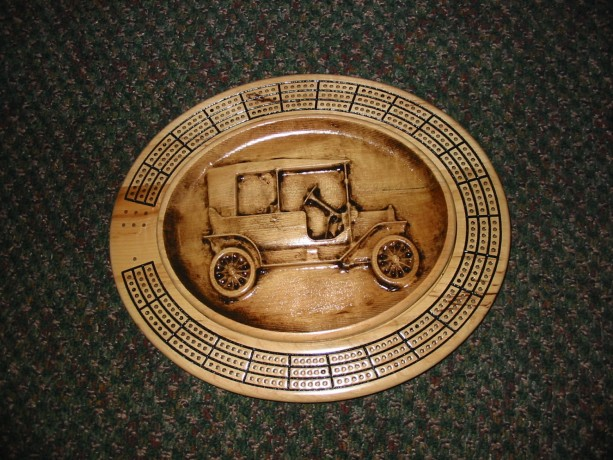 Model T Car 3 track oval cribbage board with storage