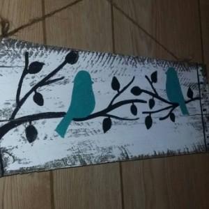Birds on a limb sign, teal bird wooden sign, small birds wood sign, birds in trees wall art, bird home decor, bird painting, small sign gift