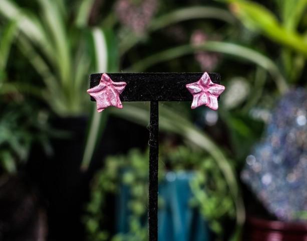Polymer clay Pink star stud earrings