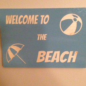 Welcome to the Beach Painted Wood Sign