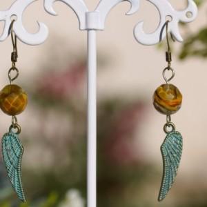Turquoise Metal Wings, Faceted Crystal Brown Earrings