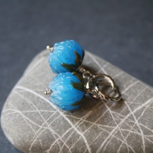 Glass Blue Clover Earrings - Turqouise Flower